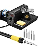 TOPELEK 60W Soldering Iron Station Kit, Fast Heat Up, 320 to 896℉ Temperature Adjustable Welding Iron with Upgraded Heating Core, LCD Display, Safe Handle, ℃/℉ Switch, Sleep Mode, 5 Extra Solder Tips