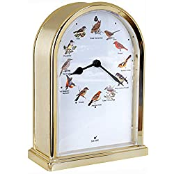 JUSTIME 7.5 inch Tall OWL Lovely Collection Plays 12 Popular Bird's Songs Table Clock Home Deco Multi-Color Unique Gift Selection(TCBD-O-GB-G)