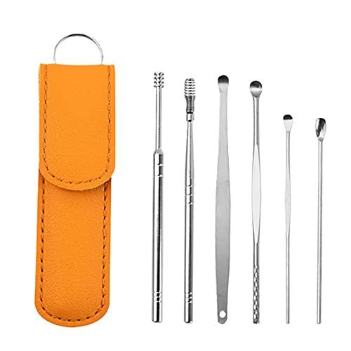 Innovador juego de herramientas de limpieza de cerumen de primavera, juego de herramientas de limpieza de oídos, limpiador de curetas de orejas, con estuche de cuero