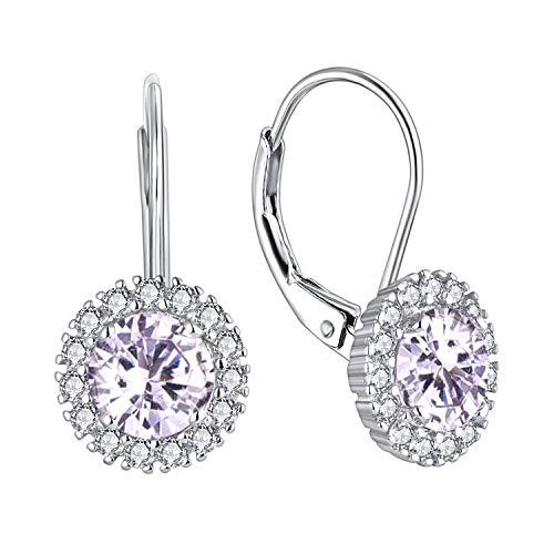 JO WISDOM Damen Hängende Ohrringe Runde Silber 925 mit AAA Zirkonia Juni Geburtsstein Alexandrit Farbe Kristall