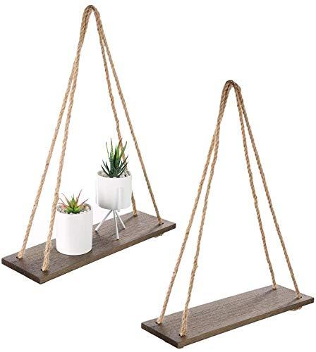 Ruiuzioong - Set di 2 mensole in legno con corde galleggianti, per soggiorno, parete e cucina, con corda, 43,2 x 13,2 cm, colore: Marrone