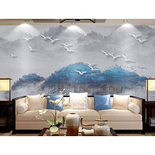 Papel pintado 3D de montaña abstracta, Mural de pájaros voladores congelados brumoso, lienzo impermeable, decoración del hogar, papel tapiz de estilo chino-250X175cm