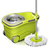 MIEMIE Mop Bucket Set 360 ° Vuelta con 2 Cabezales De Repuesto para La Limpieza del Piso Auto-Secado Y Auto-Lavado con Asa Regulable
