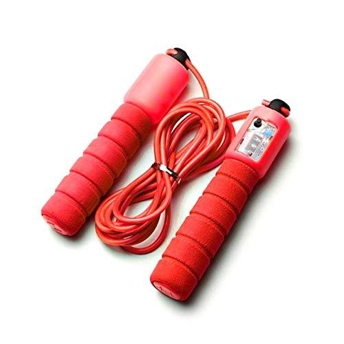 N/A NA Professionelle Sponge Springseil mit elektronischer Zähler 2.9m Einstellbare Schnelle Geschwindigkeitszählung Springseil Draht Trainingsgeräte (Color : Red)