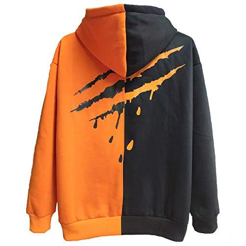XIAOYAO Herren Basic Kapuzenpullover Sweatjacke Pullover Hoodie Sweatshirt (M(Höhe:165-170CM-Gewicht:50-55KG), Orange Schwarz 2)