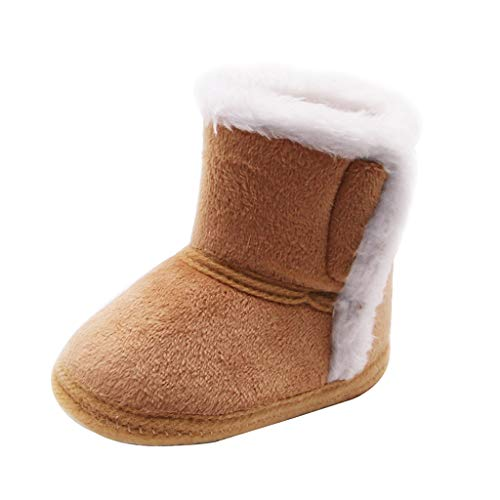 Shybuy Girl Winter Boot, Kids First Walker Outdoor Shoes Winter Warm Infant Bootie Anti-Slip Toddler Snow Boots Baby & Toddler Toys (Coffee, 0~6 M)