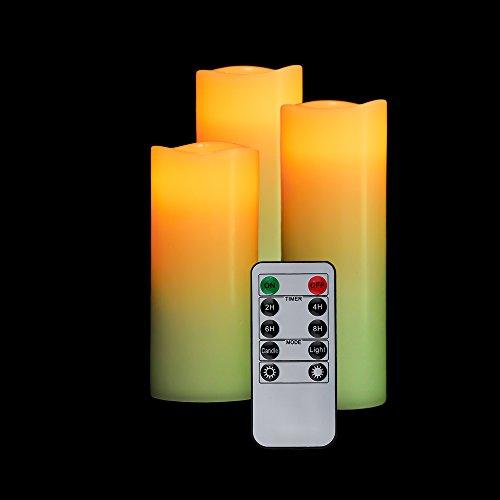 OxoxO Lot de 3 bougies pilier à LED sans flamme en cire véritable avec minuterie et télécommande 10 touches (H 12,7 cm, 15,2 cm, 17,8 cm x 5,6 cm)
