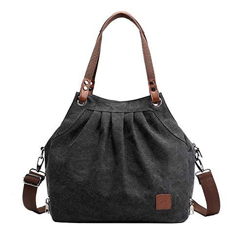 Nowbetter Bolso bandolera para mujer, de lona, informal, retro, para el día a día, bolso de la compra, color azul, Negro (Negro) - LIUJVT8Z06