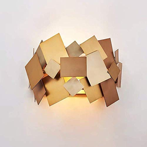 Wall Lamps, Retro European Bedside Bedroom Living Room Entrance Hallway Nordic Creative Personality of Modern Stainless Steel Sheet Wall Lamp 33 22CM Delicate Hallway Wall Lantern LAMP-80971R9G3Z Floo