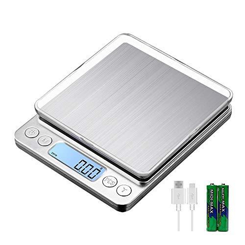 Balance de cuisine numérique, échelle de bijoux à l'échelle alimentaire 1 kg / 0,01 g avec échelle de cuisson multifonction à plateau # 6,1 kg-0,01 g, 1 kg