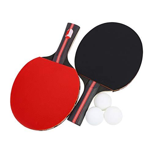 Gmkjh Juego de Raqueta de Tenis de Mesa, Juego de Ping Pong, Paleta de Ping Pong Boliprince, Raqueta de Tenis de Mesa para 2 Jugadores con 3 Bolas para Jugadores con Agarre de Mano