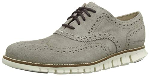 Cole Haan Zerogrand Wing Tip Oxford Gray Suede/Ivory 7.5