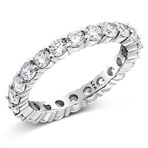 Metal Factory Sz (6) 3.50MM Sterling Silver 925 Cubic Zirconia CZ Eternity Engagement Wedding Band Ring