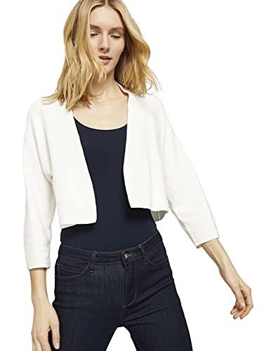 Tom Tailor 1025760 Short Cardigan Suter crdigan, 10315 Whisper White - Juego de Mesa [Importado de Alemania], S para Mujer