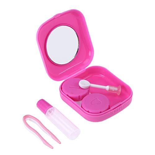 Beaupretty Estojo para lentes de contato com lentes de contato coloridas e doces. Suprimentos de beleza para homens e mulheres (rosa)