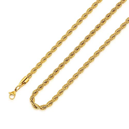M MOOHAM Gold Chain for Men, 3mm 20 Inch Stainless Steel Gold Plated Twist Rope Chain Necklace for Men