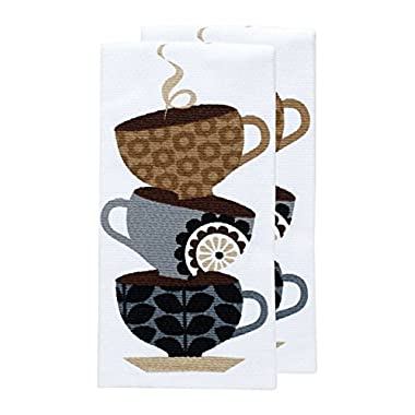 T-fal Textiles Double Sided Print Woven Cotton Kitchen Dish Towel Set, 2-pack, 16  x 26 , Coffee Cup Print
