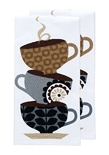 T-fal Textiles Double Sided Print Woven Cotton Kitchen Dish Towel Set, 2-pack, 16
