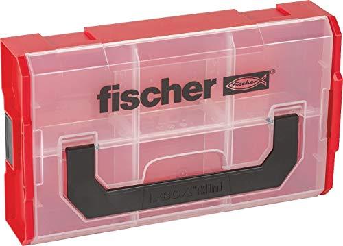 fischer FIXtainer, Sortierbox für Kleinteile, universelle Aufbewahrungs-Box für Dübel, Schrauben & Muttern, stapelbare Werkzeugkiste mit Tragegriff & Klicksystem, Dübelbox