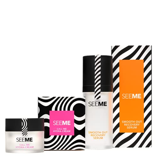 SeeMe Beauty Skincare Set -Dynamic Duo, Includes Call Me Hydra-Cream (48 g) and Smooth Out Recovery Serum (30 ml) - Hyaluronic Acid, Niacinamide, No Parabens, Cruelty Free and No Artificial Fragrances