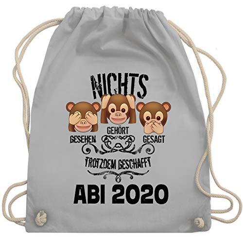 Shirtracer Abi & Abschluss - 3 Affen Emoticon ABI 2020 - Unisize - Hellgrau - abi 2019 geschenke - WM110 - Turnbeutel und Stoffbeutel aus Baumwolle