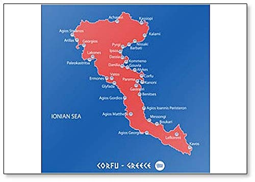 Eiland Corfu in Griekenland Rode Kaart Illustratie Koelkast Magneet