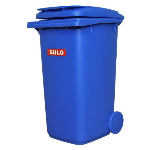 Mini-Mülltonne original SULO große Ausführung 240 Liter BLAU Miniatur Behälter Aufbewahrung Tischmülleimer Stiftehalter Büro Spielzeug Sammlerstück