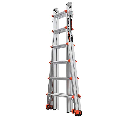 Little Giant Ladders, Revolution with Ratchet Levelers, M26, 26 ft, Multi-Position Ladder, Ratchet leg levelers, Aluminum, Type 1A, 300 lbs weight rating (12026-801)