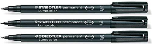 Staedtler Lumocolor Black Superfine Permanent Marker Pens Pack of 3 Waterproof Smudge Resistant Quick Dry CD DVD OHP