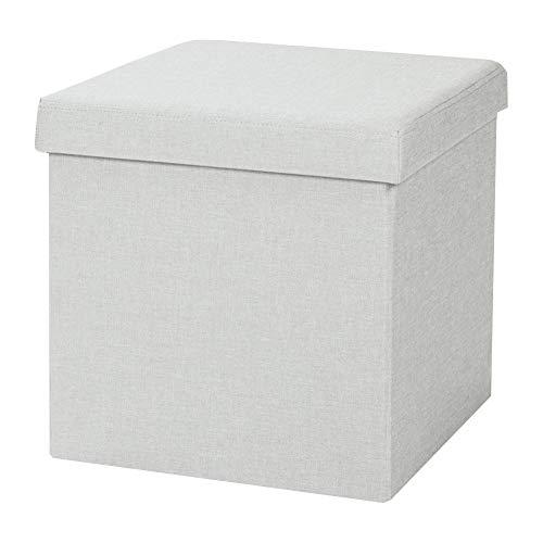 Home Creation Sitzbox Aufbewahrungsbox Fußhocker Polsterhocker Sitzwürfel faltbar (Grau)