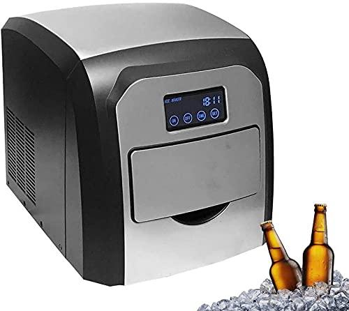 FDGSD Máquina de Hielo portátil de Acero Inoxidable con Pantalla táctil, Cubitos de Hielo listos en 6 Minutos, para Hacer 33 Libras de Hielo en 24 Horas Fiestas Bebidas Mixtas