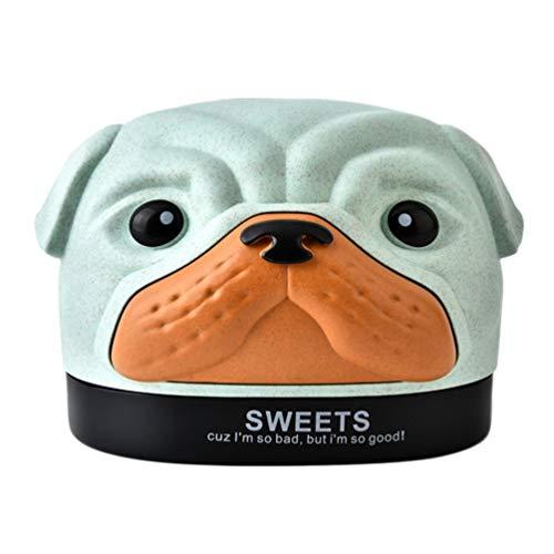 TOPBATHY Caja de pañuelos con diseño de dibujos animados Bobby para perro, con soporte de fibra de trigo y pañuelos, organizador para habitación infantil, coche, baño, dormitorio, escritorio (verde)