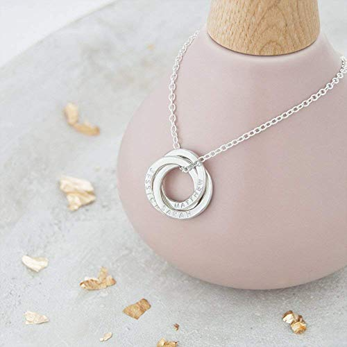 Mini Russian Ring Necklace - 3 Rings For 3 Names