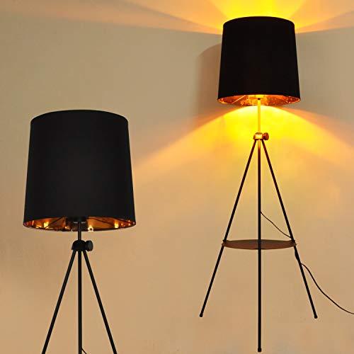Stehlampe Modern Dreibein Antik Landhausstil mit Tisch wie Regal und Schwarz Gold Vintage Classic Lampenschirm,Elegant Design Stativ Indirekt Lampe Orientalisch e27 Retro zum Lesen Wohnzimmer