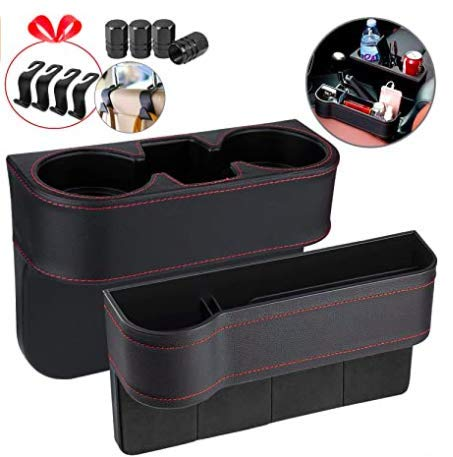 Homesprit 2 Packs Car Cup Holder with Phone Holder, Seat Gap Filler with Car Drunk Holder, Side Seat Cup Holder for Storing and Organizing Car Drinking Cup Pocket Phone Etc