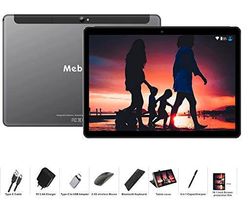 tablet 10 pollici 3g MEBERRY Tablet 10 Pollici Android 9.0 Pie Tablets 4GB RAM + 64GB ROM - Certificato Google GSM - Dual SIM | 8000mAh | WIFI | Bluetooth | GPS |Type-C (5.0+8.0 MP Telecamera) - Grigio