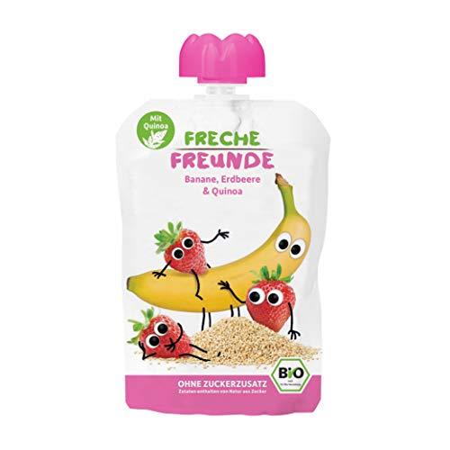 FRECHE FREUNDE Bio Quetschie Banane, Erdbeere & Quinoa, Fruchtmus mit Getreide im Quetschbeutel für Babys ab dem 6. Monat, glutenfrei, laktosefrei & vegan, 6-er Pack (6 x 100g)