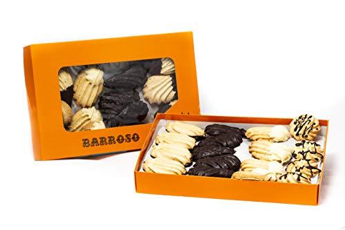 Pastas de Té Artesanas Barroso. Surtido de Pastas de Mantequilla, con Cobertura de Chocolate Blanco y Negro. 35-37 unidades. Peso Neto 520 gramos.
