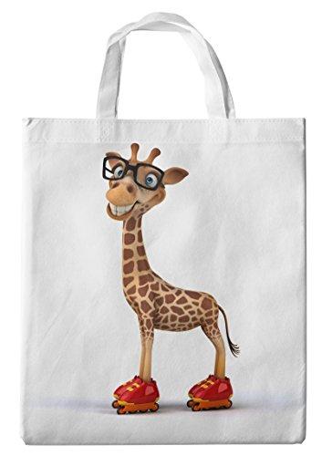 Merchandise for Fans Einkaufstasche- 38x42cm, 8 Liter - Motiv: 3D Comic Giraffe mit Hipster Brille auf Inline Skates - 05