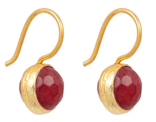 SOFORT LIEFERBAR - SARAH BOSMAN Damen Ohrringe Gold Globe Red Jade - Ohrhänger mit Kugel Silber vergoldet eingefasster Roter Jadestein - SAB-E04REDJADg