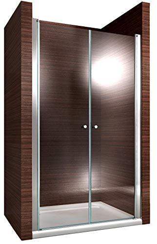 Duschkabine Duschabtrennung Nischentür Nano Echtglas EX218-195 cm Höhe - Breite wählbar, Breite:96cm