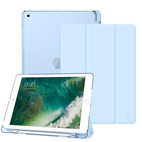 Fintie Funda Compatible con iPad 9.7 (2018/2017) con Soporte Integrado para Pencil - Trasera Transparente Carcasa Ligera Función de Auto-Reposo/Activación, Azul Claro
