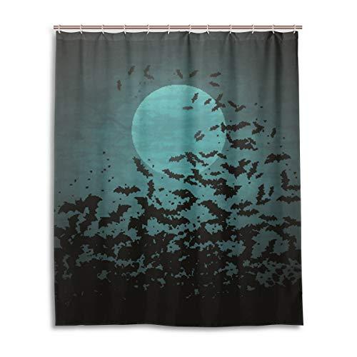 JSTEL Deko-Duschvorhang Halloween Mond & Fledermäuse Muster Druck 100prozent Polyester Stoff Duschvorhang 152,4 x 182,9 cm für Zuhause Badezimmer Dekorative Duschvorhänge