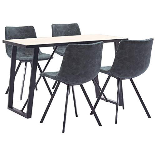 vidaXL Essgruppe 5-TLG. Esszimmergarnitur Esstischset Tischset Sitzgruppe Esszimmergruppe Esszimmertisch Küchentisch 4 Stühle Kunstleder Schwarz