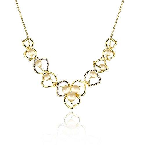 Good dress Pflanze Semi-Edelstein Weibliche Zinn-Legierung Kabel Kette Anhänger Halskette Romantische Durchbrochene Blume Opal Halskette Gold, Gold