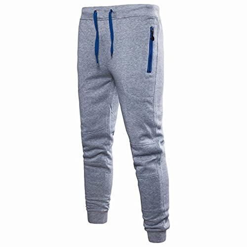 BGUK Pantalones de chándal para hombre, de mezcla de algodón, cómodos, con cordón, para el tiempo libre, plata, XXL