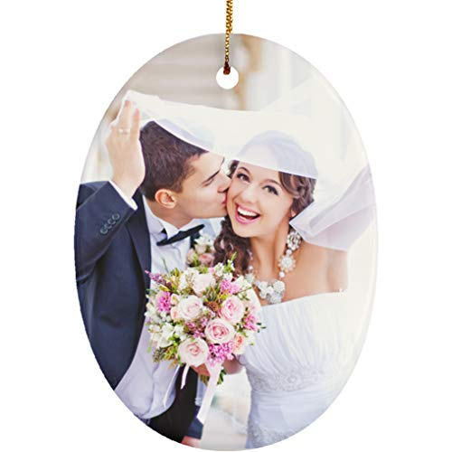Personalized Christmas Ornament Huge Collection with Cool Designs & Your Own Photo. Couples Baby First, Nightmare Before Christmas... Christmas Decorations for The Home - 1 Sided (Photo, Oval)