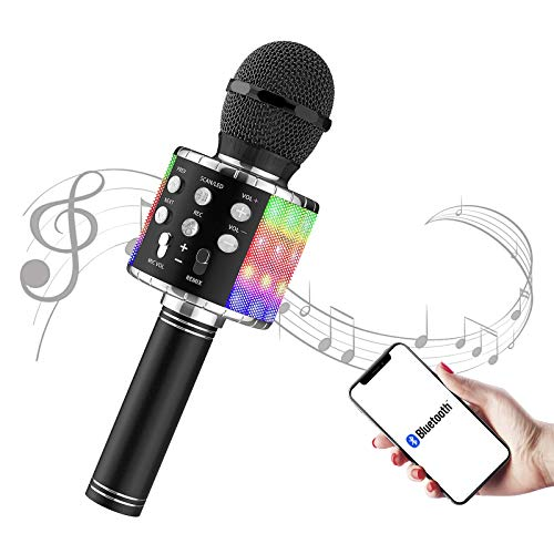 Karaoke Microphone - FLYBEBE Karaoke Wireless Microphone Bluetooth with LED Lights, Portable 4 in 1 Multi-Function Handheld Karaoke Machine for Adults Kids Birthday Home Party Singing