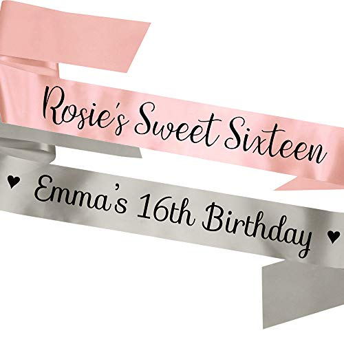 My Pretty Little Gifts Personalised Sweet Sixteen Sash 16th Birthday Accessory - Fully Customisable - 14 Colours!