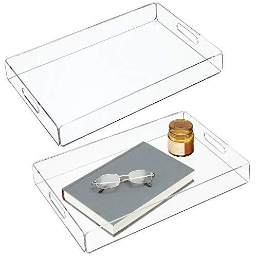 mDesign Juego de 2 bandejas de plástico – Pequeña bandeja con asas – Bonitas bandejas de desayuno para servir de forma elegante queso, café, etc. – transparente